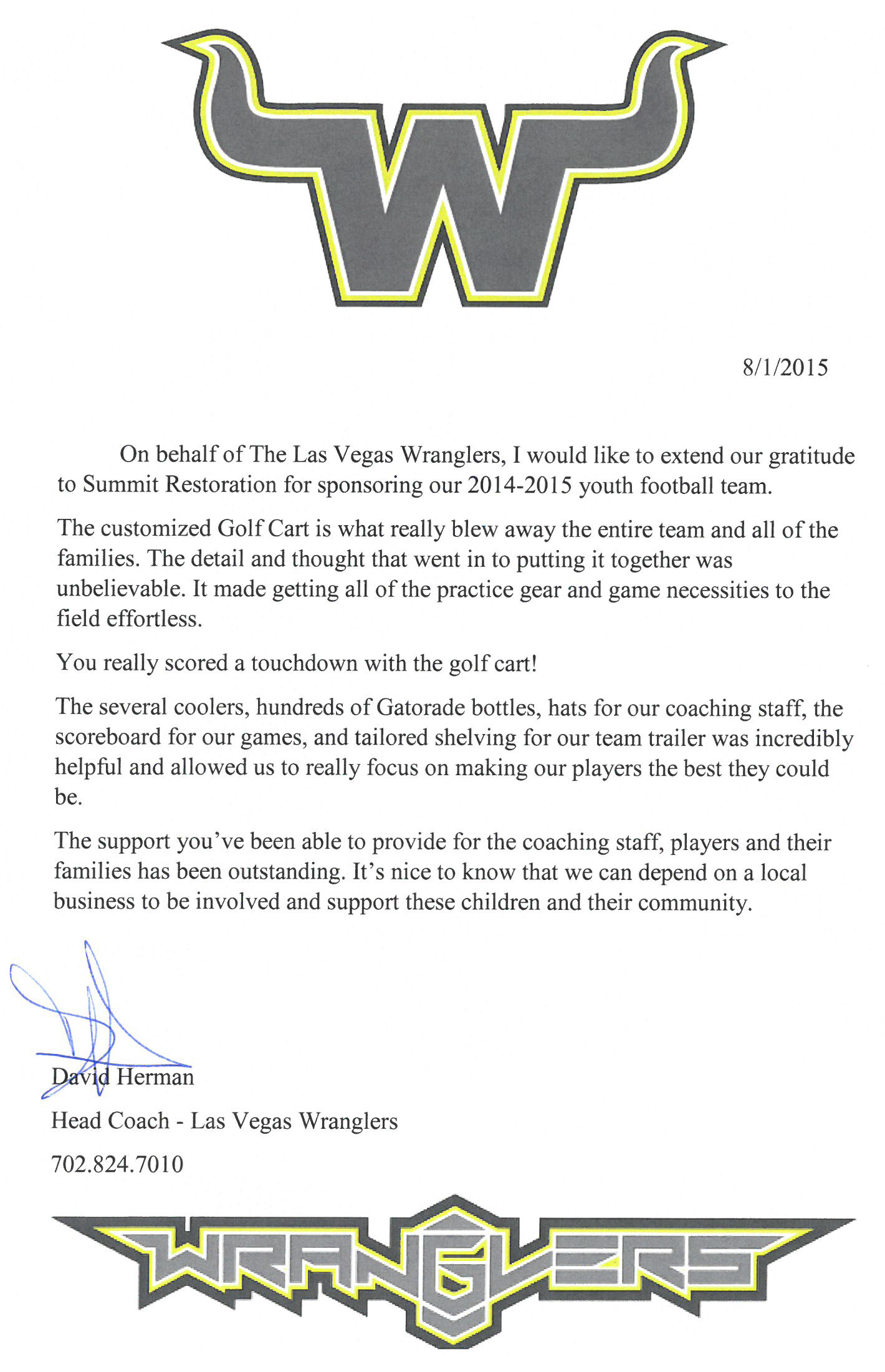 Testimonial from David Herman Head Coach – Las Vegas Wranglers