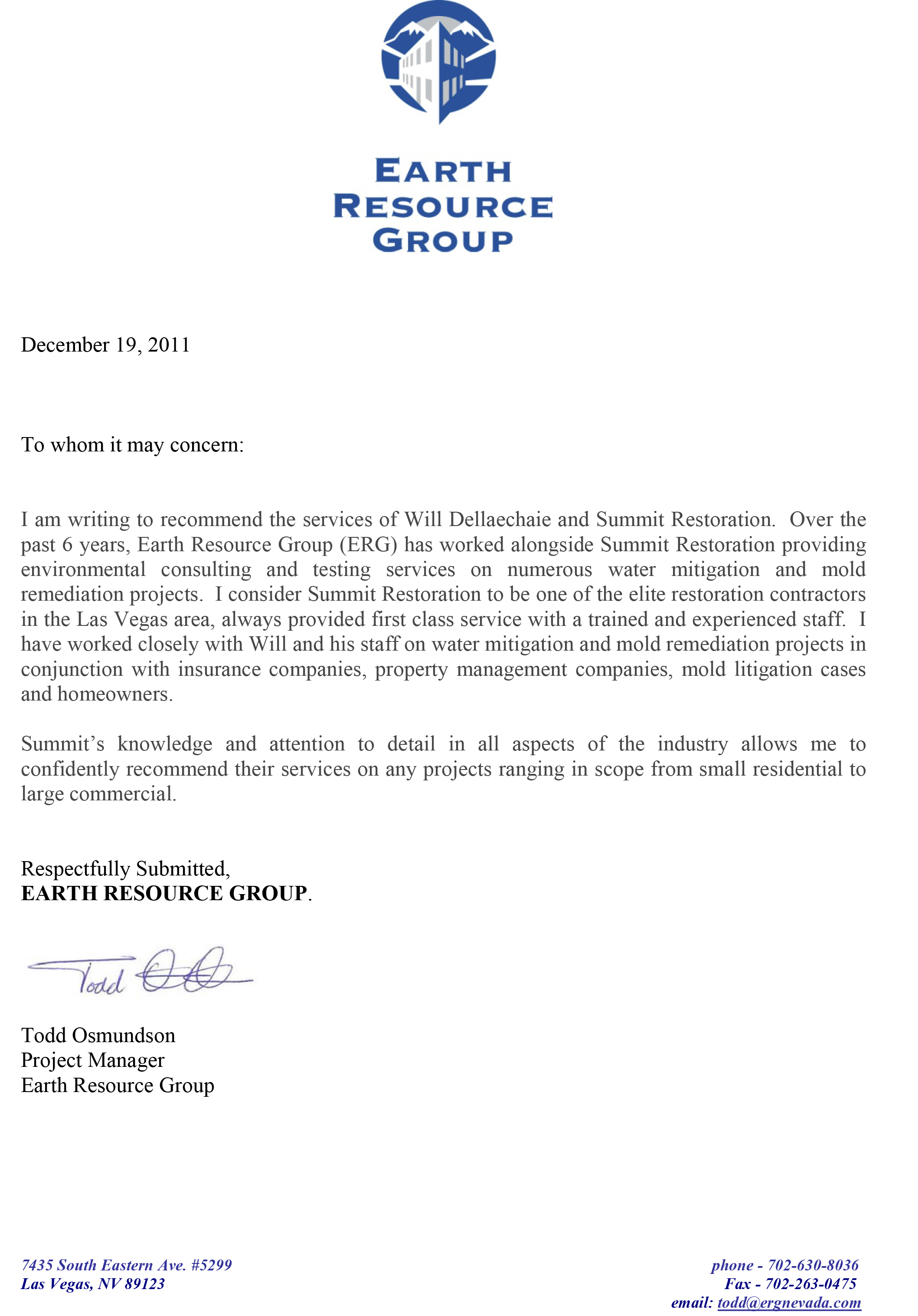 Testimonial from Earth Resource Group