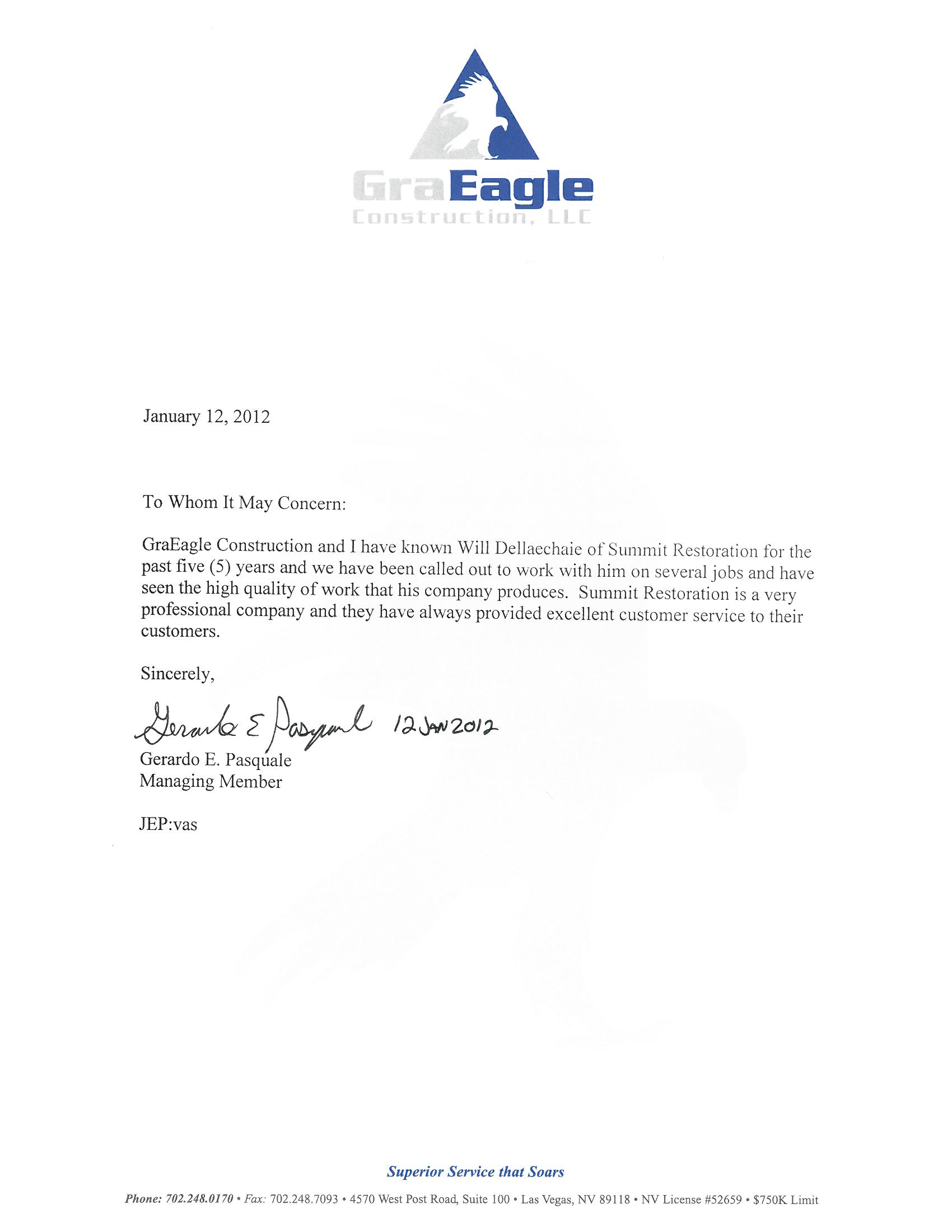 Testimonial from GraEagle Construction