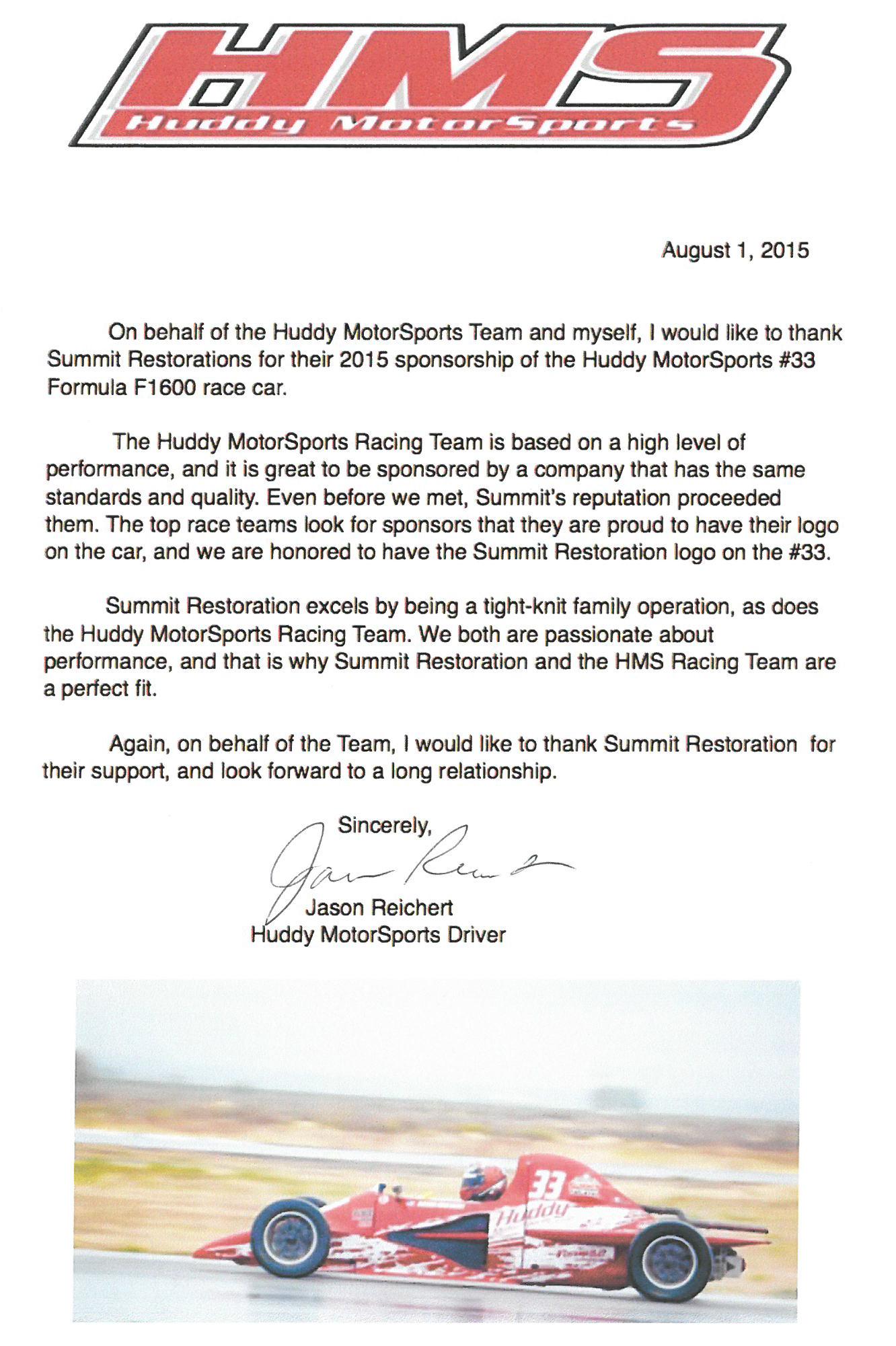 Testimonial from Jason Reichert Huddy MotorSports Driver