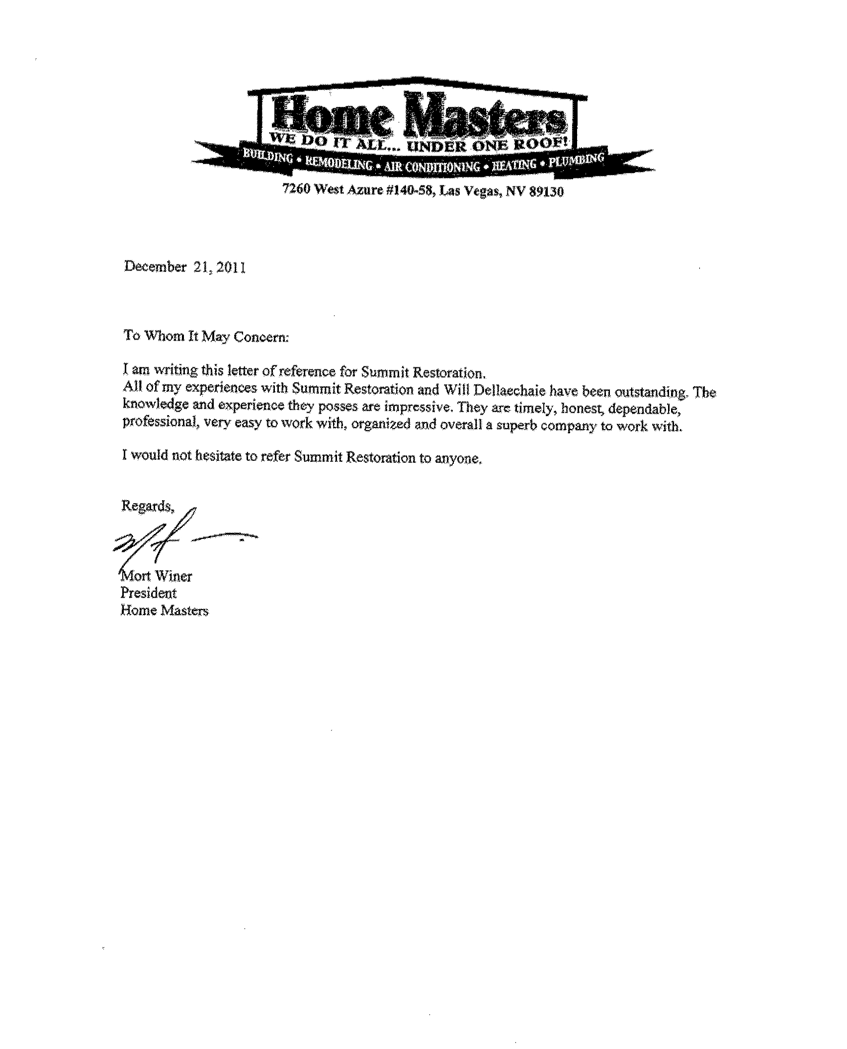 Testimonial from Mort Winer – Home Masters