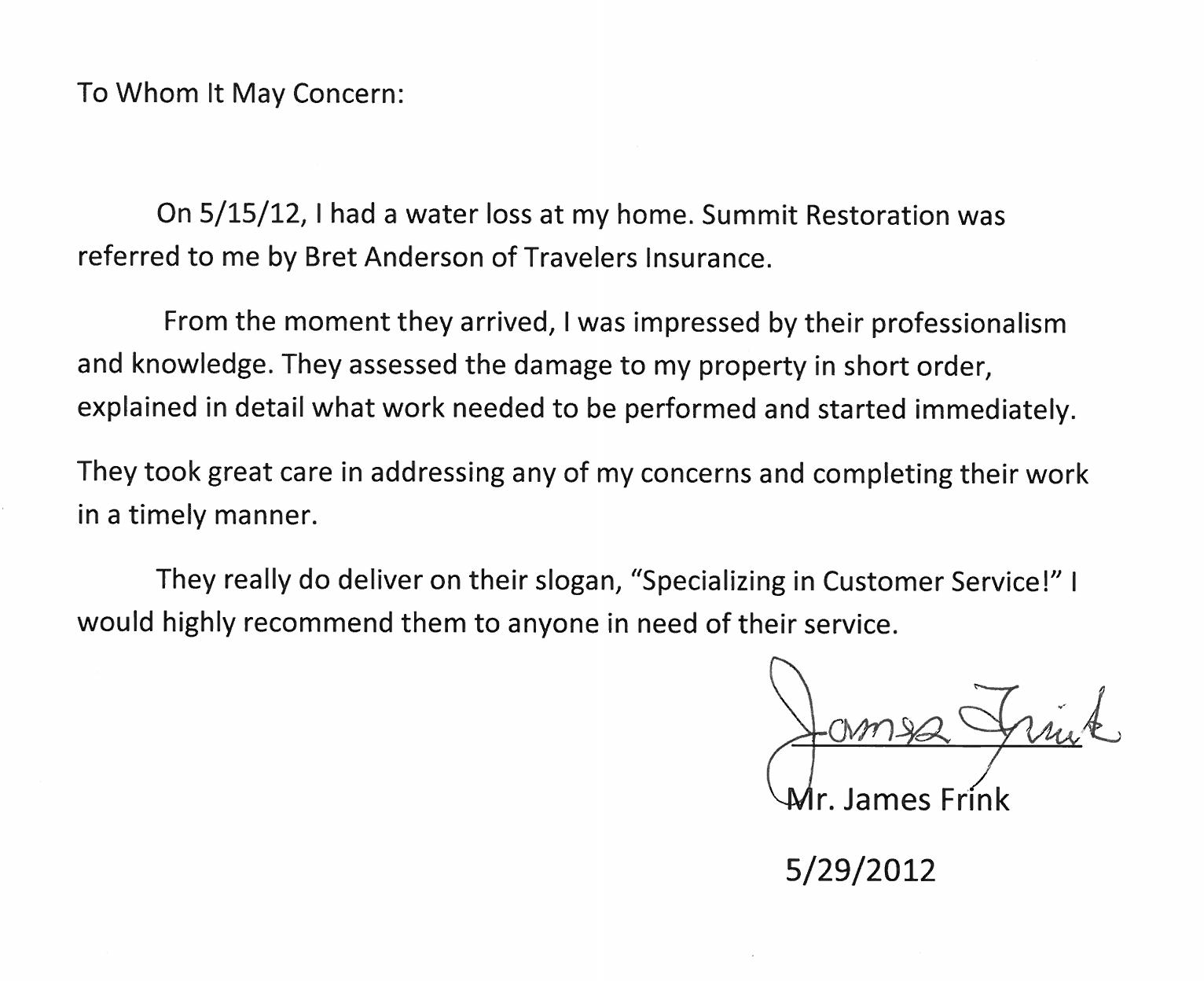 Testimonial from James Frink