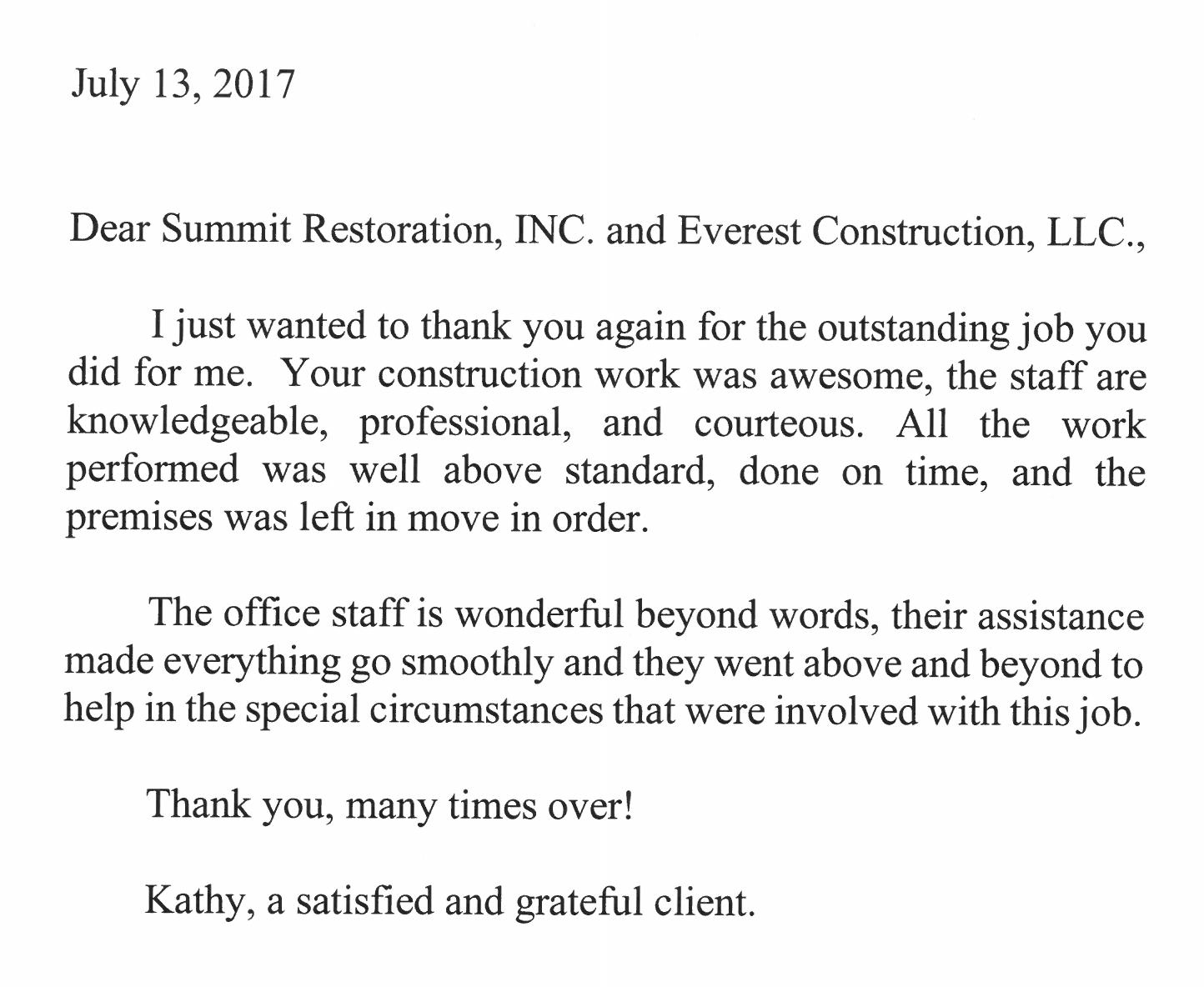 Kathy Halowell satisfied client
