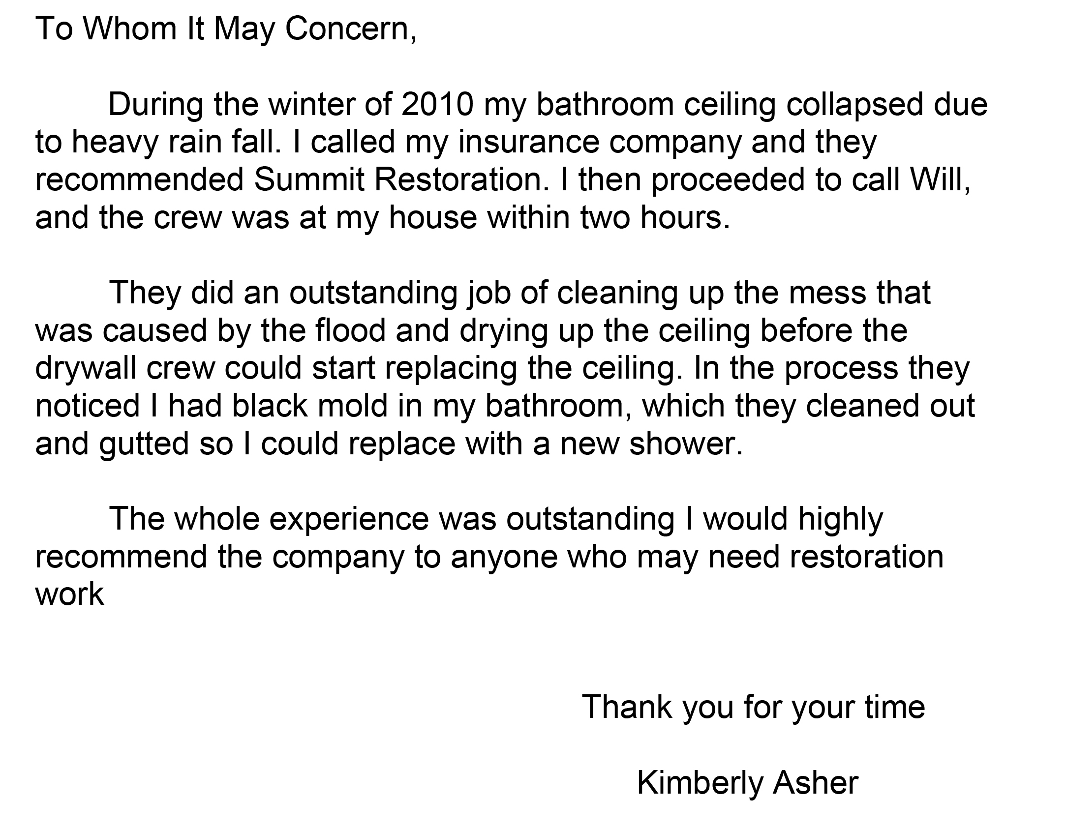 Testimonial from Kimberly Asher