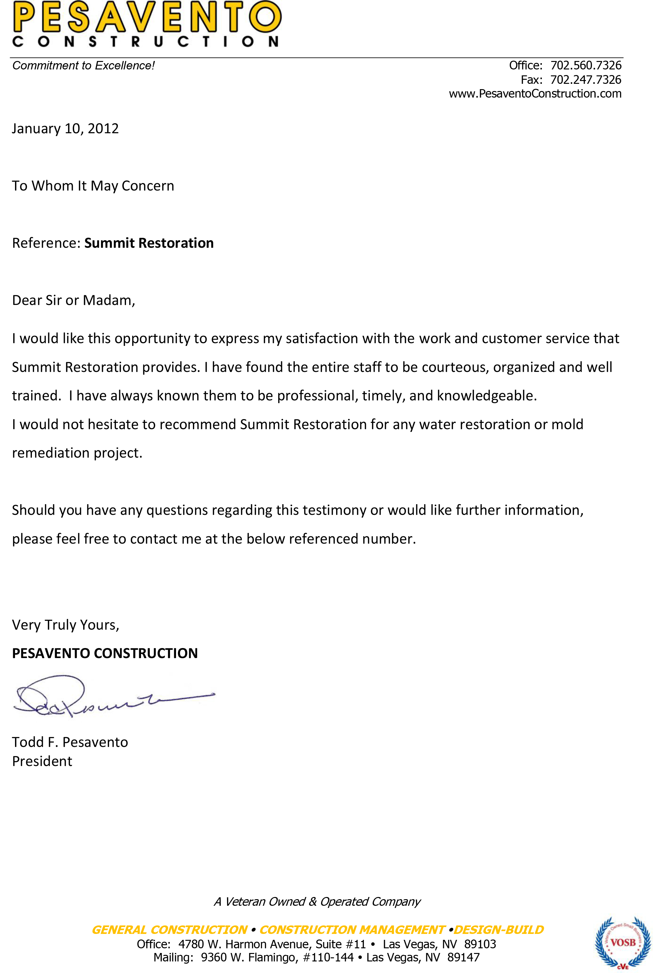 Testimonial from Pesavento Construction