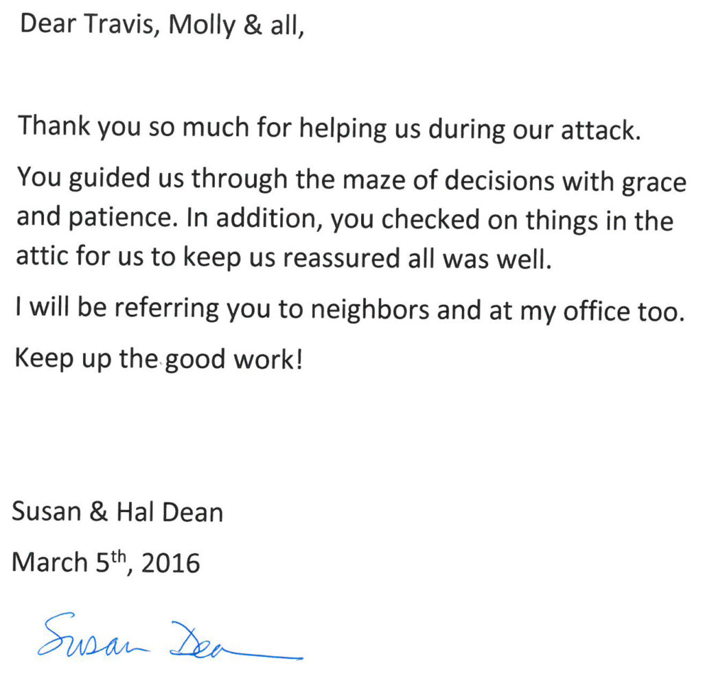 Testimonial from Susan and Hal Dean