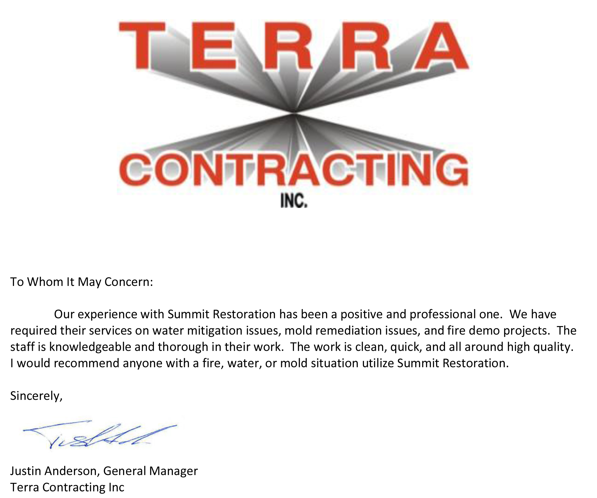 Testimonial from Terra Contracting